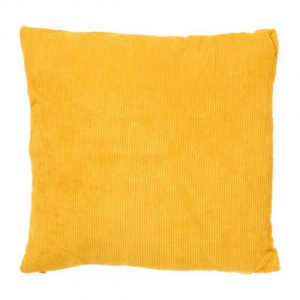 Ribstof kussen geel